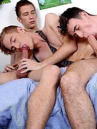 Gang Bang: Hot, horny schoolboy trio get top grades in a suck & fuck cum-soaked frenzy!